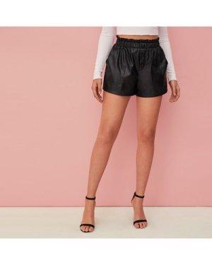 Paperbag Waist Button Detail Faux Leather Shorts