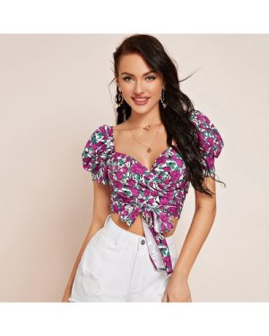 Puff Sleeve Wrap Belted Floral Top