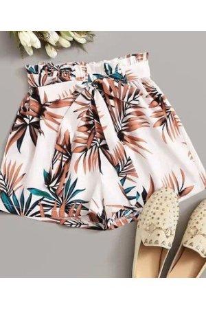 Plus Plants Print Belted Shorts