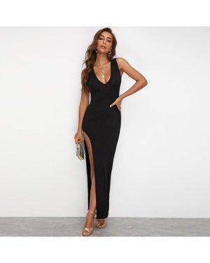 High Split Solid Maxi Dress