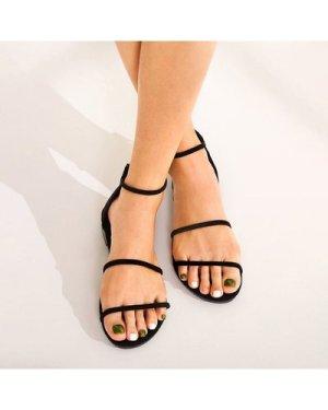 Back Zipper Ankle Strap Flat Sandals