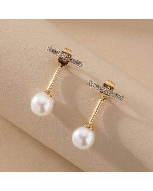 1pair Rhinestone Decor Pearl Decor Earrings