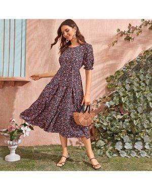 Ditsy Floral Flounce Hem A-Line Dress