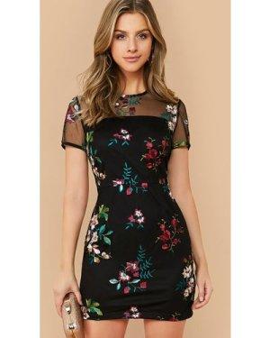 Sheer Mesh Yoke Flower Embroidered Dress