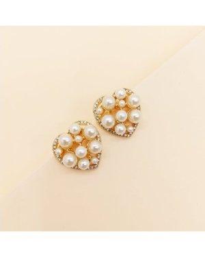 1pair Faux Pearl Heart Shaped Earrings