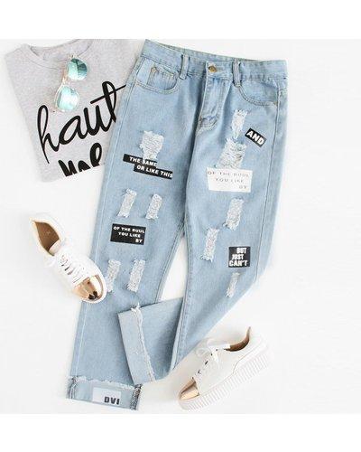 Plus Slogan Graphic Ripped Boyfriend Jeans