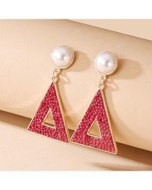Bead Triangle Drop Earrings