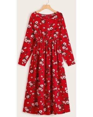 Allover Floral Elastic Waist Dress