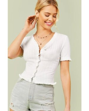 Frill Trim Buttoned Front Rib-knit Top