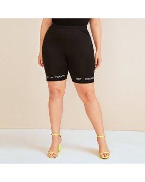 Plus Letter Embroidery Biker Shorts