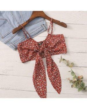 Tie Front Ditsy Floral Crop Cami Top