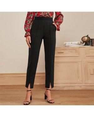 Zip Back Slit Hem Tailored Pants