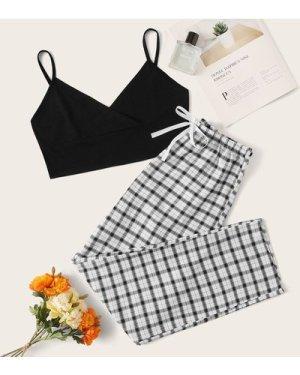 Crop Cami Top & Plaid Pants PJ Set