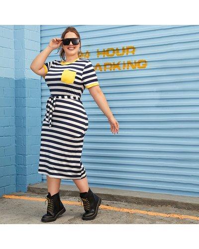 Plus Block Stripe Tie Waist Ringer Tee Dress