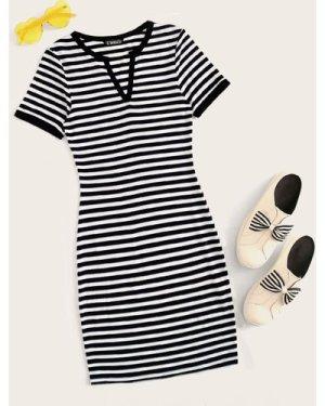 Notch Neck Striped Dress