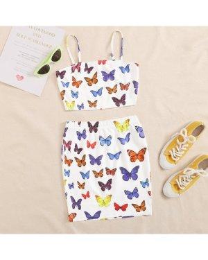 Butterfly Print Crop Cami Top & Skirt Set
