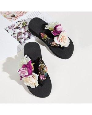 Floral Applique Toe Post Sliders
