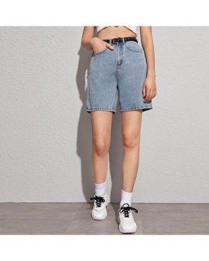 Light Wash Denim Shorts Without Belt