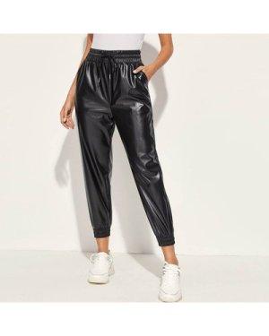Drawstring Waist PU Leather Pants