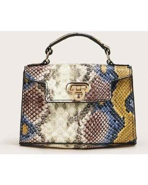 Mini Snakeskin Chain Satchel Bag
