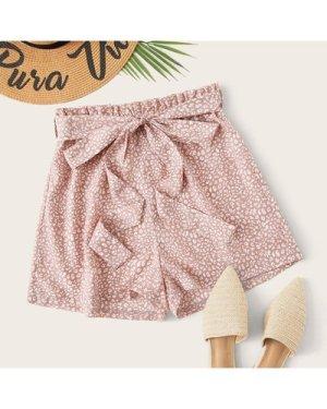 Paperbag Waist Belted Leopard Shorts