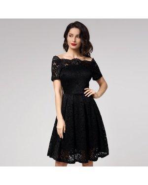 Off Shoulder Floral Lace Overlay Dress