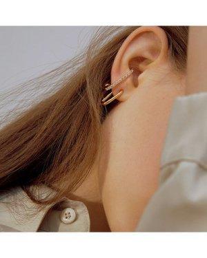 3pcs Rhinestone Decor Cuff Hoop Earrings