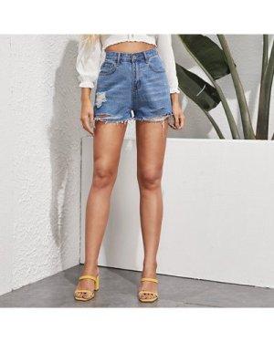 Distressed Raw-Cut Denim Shorts