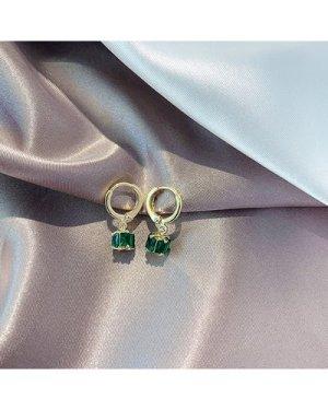 1pair Crystal Decor Cube Design Drop Earrings