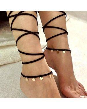 Disc Detail Wrap Anklet 1pc