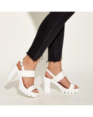 Open Toe Slingback Chunky Heels