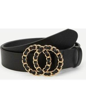 Chain Shaped Double Buckle Belt