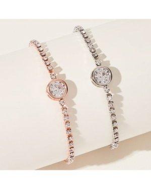 Rhinestone Decor Design Bracelet 2pcs