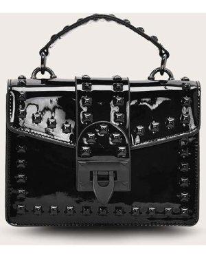 Studded Decor Flap Patent Satchel Bag