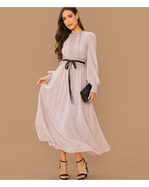 Lantern Sleeve Lace Detail Belted Swiss Dot Dress