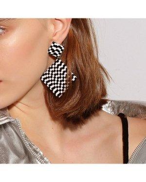 1pair Checker Geometric Drop Earrings