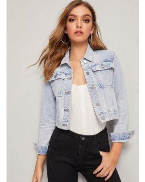Bleach Wash Flap Pocket Denim Jacket