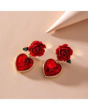 1pair Flower Decor Earrings
