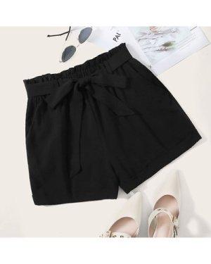 Paperbag Waist Belted Solid Shorts