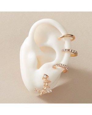 4pcs Rhinestone Decor Earrings