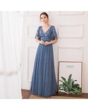 V-back Appliques Mesh Formal Dress