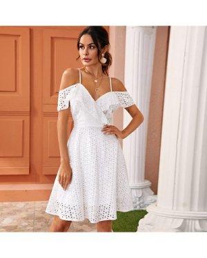 Ruffle Trim Eyelet Embroidery Cami Dress