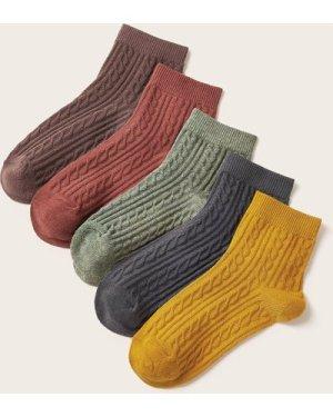 5pairs Solid Braided Socks