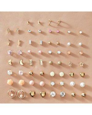 30pairs Moon & Heart Decor Earrings