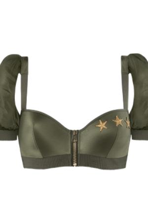 aviator plunge balcony bra   wired padded military green - 38D
