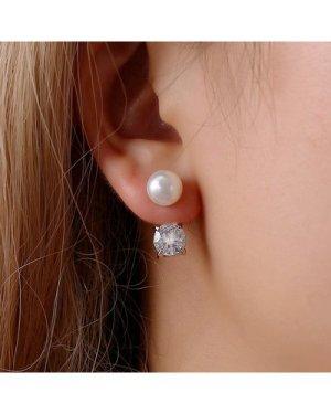 1pair Faux Pearl & Rhinestone Decor Double Stud Earrings