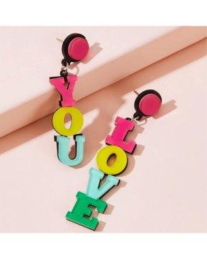 Colorblock Letter Drop Earrings 1pair