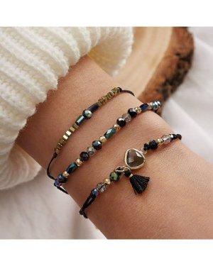 3pcs Crystal Decor String Bracelets