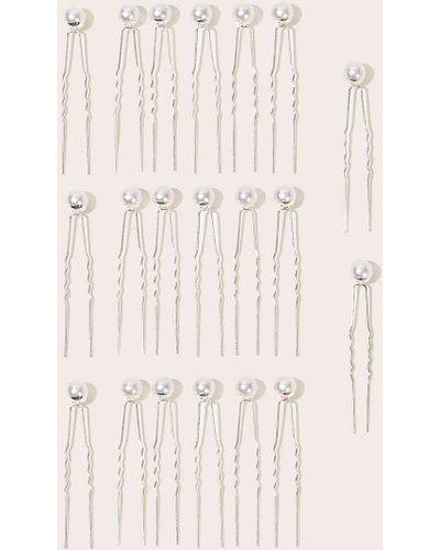 Faux Pearl Decor Hair Pin 20pcs