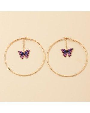 1pair Butterfly Hoop Earrings